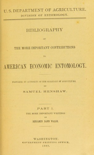 Download Bibliography of the more important contributions to American economic entomology.