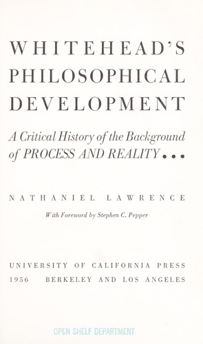 Whitehead's philosophical development