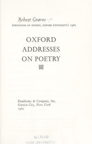 Oxford addresses on poetry.