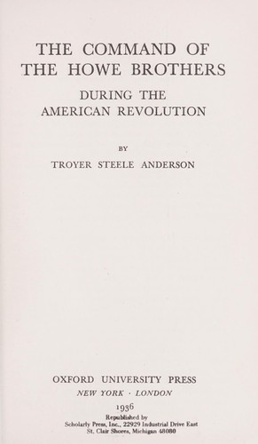 Download The command of the Howe brothers during the American Revolution