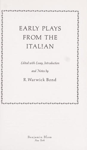 Download Early plays from the Italian.
