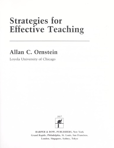 Download Strategies for effective teaching