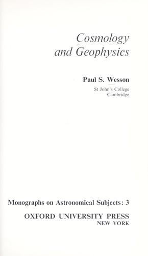 Cosmology and geophysics