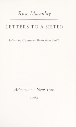 Letters to a sister.