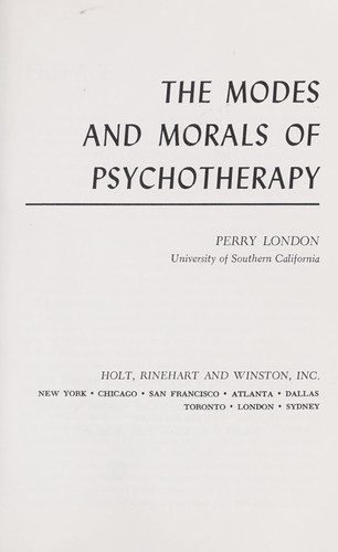 The modes and morals of psychotherapy.