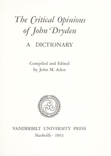 Download The critical opinions of John Dryden