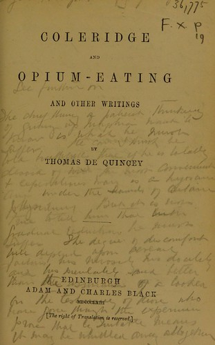 Coleridge and opium-eating, and other writings
