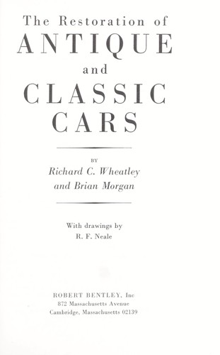 Download The restoration of antique and classic cars