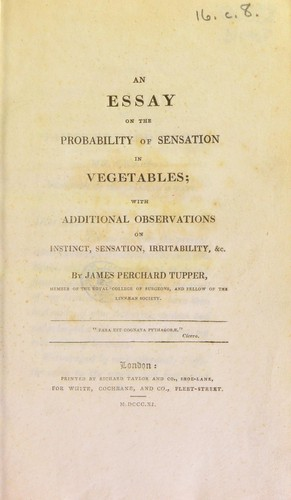 Download An essay on the probability of sensation in vegetables