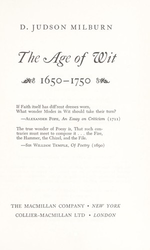 Download The age of wit, 1650-1750