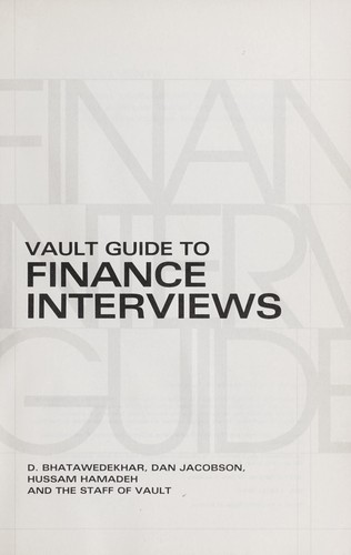 Download Vault guide to finance interviews