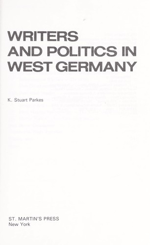 Writers and politics  in West Germany