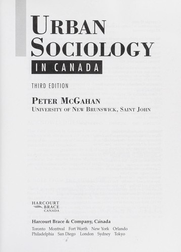 Urban sociology in Canada
