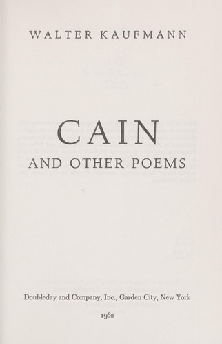 Cain, and other  poems.