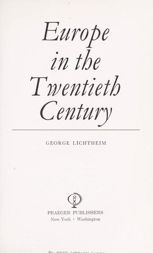 Download Europe in the twentieth century.