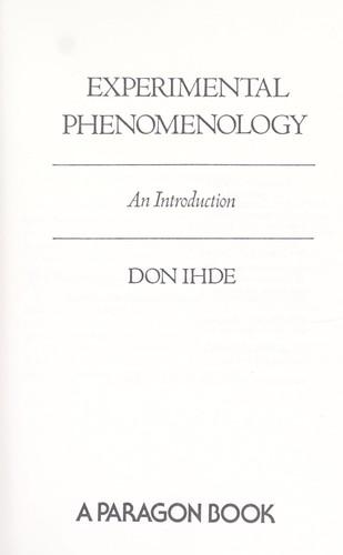 Experimental phenomenology