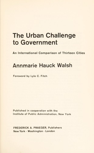 Download The urban challenge to government
