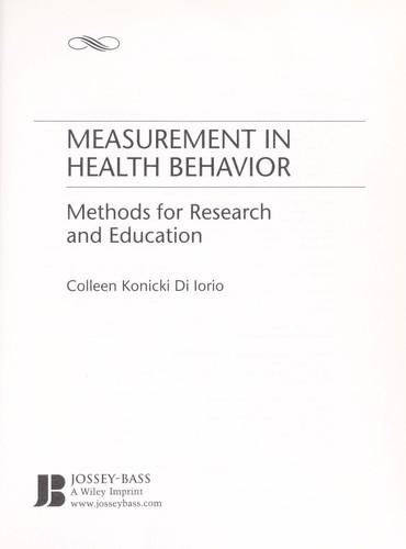 Download Measurement in health behavior
