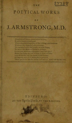 The poetical works of J. Armstrong …