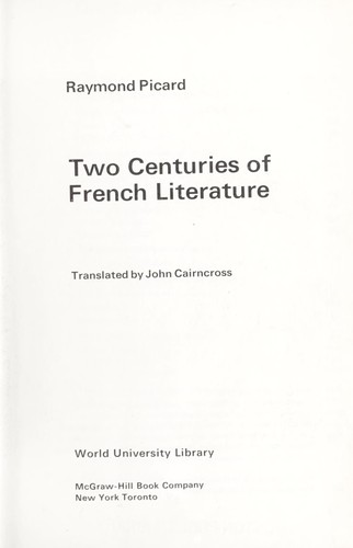 Download Two centuries of French literature.