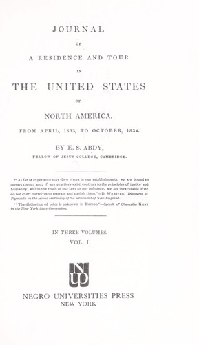 Download Journal of a residence and tour in the United States of North America, from April, 1833, to October, 1834.