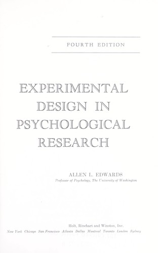 Download Experimental design in psychological research