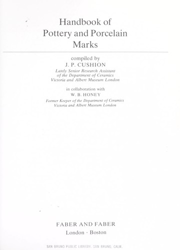 Download Handbook of pottery and porcelain marks