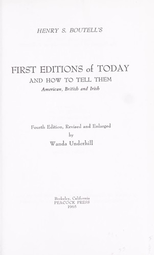 Download First editions of today and how to tell them