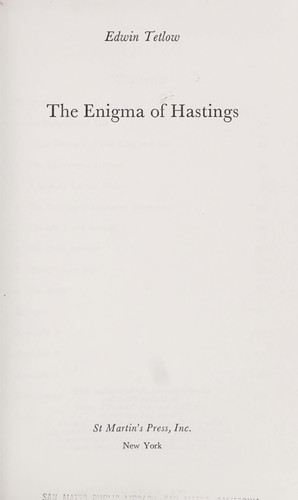 The enigma of Hastings.