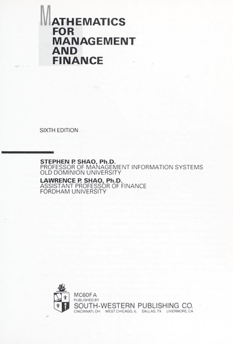 Download Mathematics for management and finance