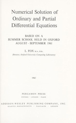Numerical solution of ordinary and partial differential equations.