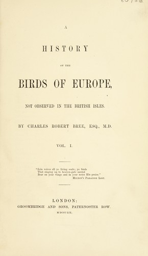 A history of the birds of Europe
