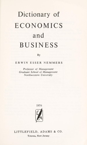 Dictionary of economics and business.