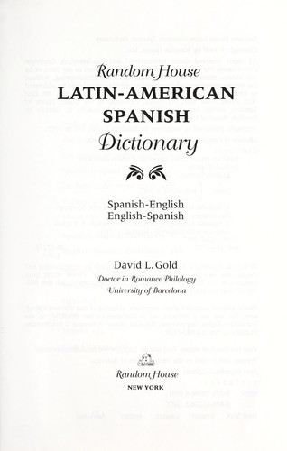 Random House Latin-American Spanish dictionary