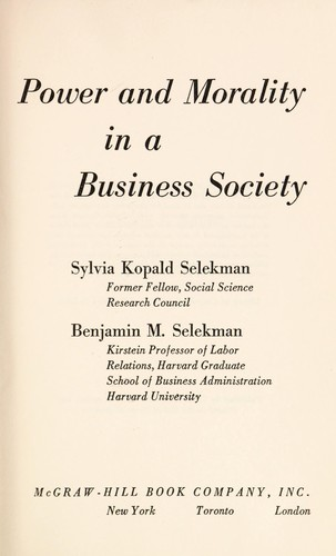 Download Power and morality in a business society
