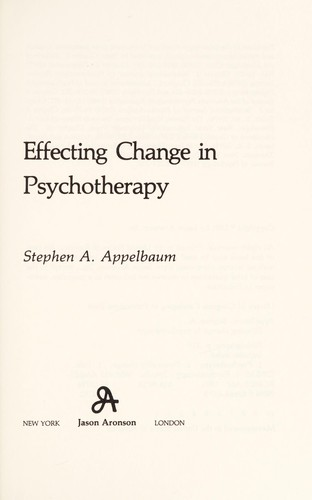 Effecting change in psychotherapy