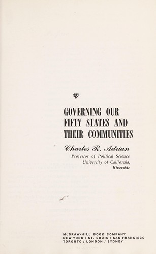 Governing our fifty States and their communities