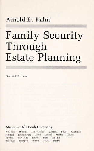 Download Family security through estate planning