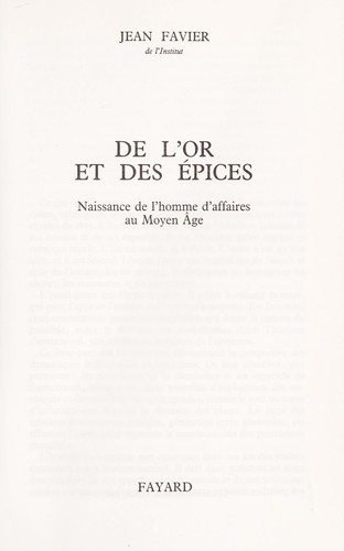 Download De l'or et des épices
