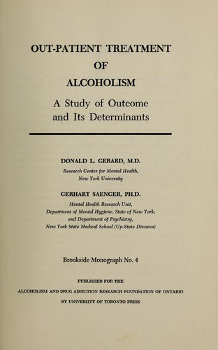 Download Out patient treatment of alcoholism
