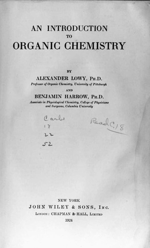 An introduction to organic chemistry by Alexander Lowy