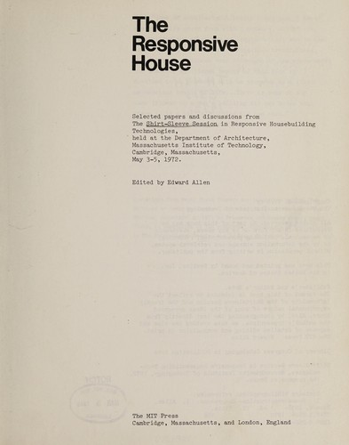 The Responsive House by Edward Allen