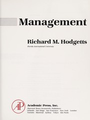 Cover of: Management | Richard M. Hodgetts