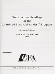 Fixed income readings for the chartered financial analyst program