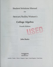 Cover of: Student solutions manual for Stewart/Redlin/ Watson's College algebra, fourth edition
