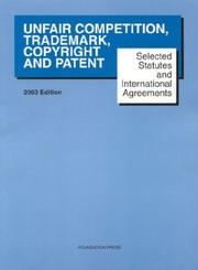 Unfair Competition, Trademark, Copyright and Patent PDF