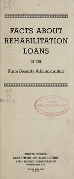 Facts about rehabilitation loans of the Farm security administration