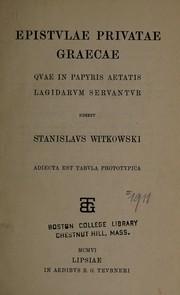 Epistvlae privatae graecae qvae in papyris aetatis Lagidarvm servantvr