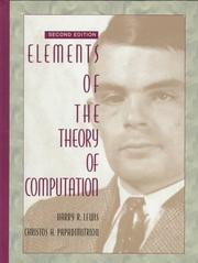 Elements of the theory of computation by Harry R. Lewis