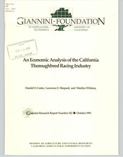 An economic analysis of the California thoroughbred racing industry